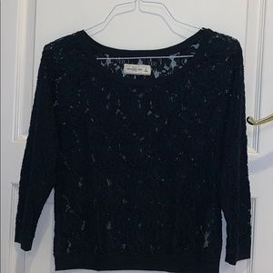 Navy Blue Lace Sweater